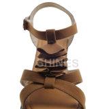 ラクダの女性PUのスエードの方法ハイヒールのサンダル