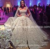 Vestido de casamento de cristal de cristal luxuoso nupcial árabe H201652 do laço do vestido de esfera