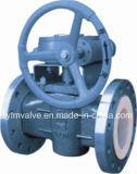Tipo válvula da flange de plugue alinhada PFA para o gás de óleo