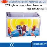 Congélateur commercial incurvé de poitrine de porte coulissante d'étalage en verre de crême glacée