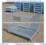 Pieghevole, Stackable Galvanized Wire Mesh Pallet Cage per Warehouse Storage
