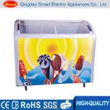 Gebogene Glasschiebetür-Eiscreme-Bildschirmanzeige-Handelsbrust-Gefriermaschine