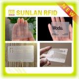 Cartão transparente de NFC com microplaqueta e antena