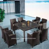 Het goedkope het Dineren van de Rotan van het Aluminium Rieten Vierkante Meubilair van de Tuin van de Lijst Chair& Vastgestelde door Persoon 8 (yta020-1&ytd020-3) als K/D