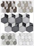 Nuevo diamante del modelo y mosaicos de cristal de la pared del color de Brown del hexágono (M855164)
