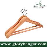 De natuurlijke Slip Houten Hangers van het Kostuum met Vierkante Staaf voor de Mens