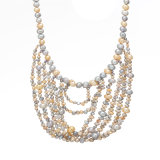 Perlen-Kettenhalskette, Goldlangkettige Perlen-Halskette, moderner Perlen-Halsketten-Entwurf
