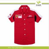 広州中国の高品質の赤い綿のピット・クルーのワイシャツ(kyf003)