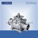 """1/2 """" - 4 """" 3 parties pneumatiques de robinet à tournant sphérique avec le dispositif d'entraînement d'acier inoxydable"""