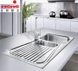 Dissipador de cozinha com placa do dreno, dissipador do aço inoxidável (11548A)