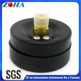 ミニチュア黒い鋼鉄ケースの真鍮のコネクターの背部接続の概要の圧力計