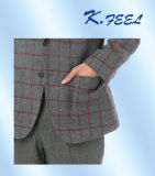 Mens 모직 회색 검사 우연한 블레이저 코트