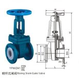 PFA Lined Gate Valve Rising Stem per Chemical