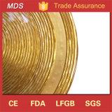 Plaque en verre de chargeur d'or à nervures d'usager de qualité pour la nourriture