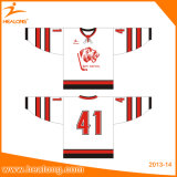 Healong Applique Logo Maillot de hockey sur glace noir / rouge
