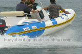 шлюпка 4.2m Rib420b с шлюпкой твердого корпуса стеклоткани CE раздувной с рыбацкой лодкой забортного двигателя