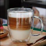 Tasse de café en verre de mur de double de résistance thermique de sûreté pour le grossiste