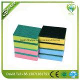 Récureur d'éponge de polyester de nettoyage de ménage