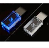 disque personnalisé par 3D USB du verre cristal de logo USB DEL