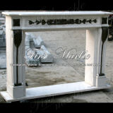 Camino di marmo Carrara bianca del granito del camino di pietra del camino & camino Bronze Mfp-1004
