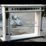 De marmeren Open haard Witte Open haard mfp-1004 van Carrara van het Graniet van de Steen & van het Brons