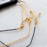 ビードのペンダント黒いロープの金はチェーンチョークバルブのネックレスセットをめっきした