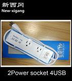 Zoccolo di estensione della striscia di potere di modo 4USB dei materiali 2 del PC multi con l'interruttore