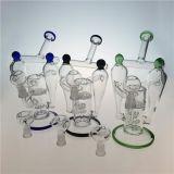 Tubo di fumo di vetro del doppio narghilé del riciclatore con il favo Perc (ES-GB-392)