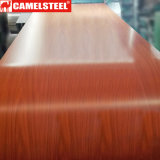 La couleur a enduit de bobine bobine en acier enduite d'une première couche de peinture par enduit en bois en bois/bel en acier des graines