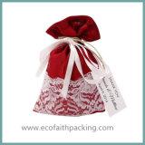 Мешок Drawstring сатинировки рождества для пакета подарков