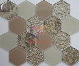 Mosaico de cristal del hexágono amarillento del color del uso de la cocina (CFC660)