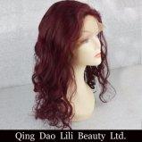 Brasilianisches Jungfrau-Haarpflegemittel 99j lösen Menschenhaar-Perücken der Wellen-volle Spitze-Perücke-freie Trennungs-99j Remy mit Baby