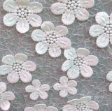 Neue Ankunfts-Chiffon- Blume Appliqued Stickerei-Spitze für Hochzeits-Kleid-Gewebe