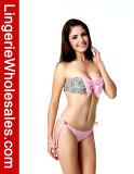 Retro Blumendruckgrosser Bowknot-trägerloser reizvoller Bikini