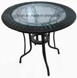 Tabella rotonda del rattan del tavolino da salotto di vetro di fibra con il piedino rivestito della polvere (LL-CFT003)