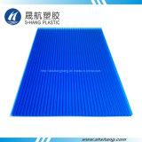Feuilles à double paroi en polycarbonate bleu givré avec protection UV