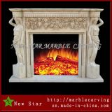 Double Side Fireplace Surround / Overmantel em White Marble