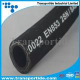 Mangueira hidráulica de borracha de alta pressão reforçada flexível do fio de aço