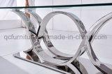 鉄骨フレームの新しいデザインのガラスダイニングテーブル