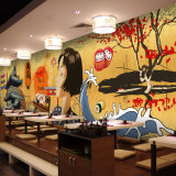 Papel pintado auto-adhesivo barato impermeable del mural de los restaurantes japoneses de la decoración