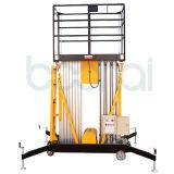 Elevador vertical de alumínio hidráulico do homem do mastro dobro, elevador telescópico do homem