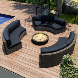 Outdoor Garden Patio Rattan Wicker Furniture Canapé d'angle avec repose-pieds