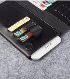 Caixa do telefone de pilha com a caixa do couro da ranhura para cartão para o iPhone