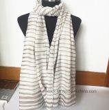 Madame rayée horizontale bon marché Scarf en polyester 100% (HM097)