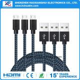 Изолированный заплетением микро- заряжатель кабеля USB и кабель Sync данных для черни Andriod