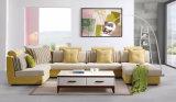 Mobília de madeira em madeira Conjunto de sofá de tecido seccional