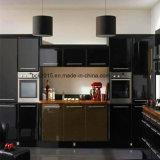 島のキャビネットが付いているMDFの高く光沢のある黒そしてブラウンのカラーによって塗られる食器棚