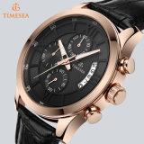 Les jeux plaqués par or de Rose imperméabilisent la montre de chronographe de montre d'alliage avec le logo fait sur commande spécial Reloj 72653 de cadres de montre
