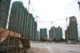 Aufbau-Turmkran-Gebäude-Maschinerie
