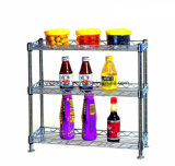 Novo design do Chrome Metal Kitchen Spice Shelf Rack (CJ-C1041)